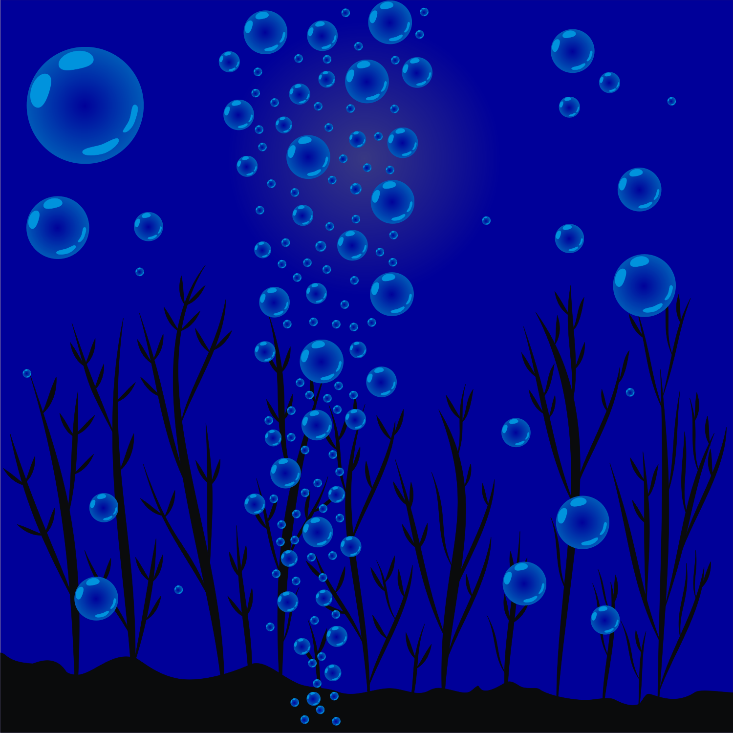 Underwater plants and bubbles. Free vector image