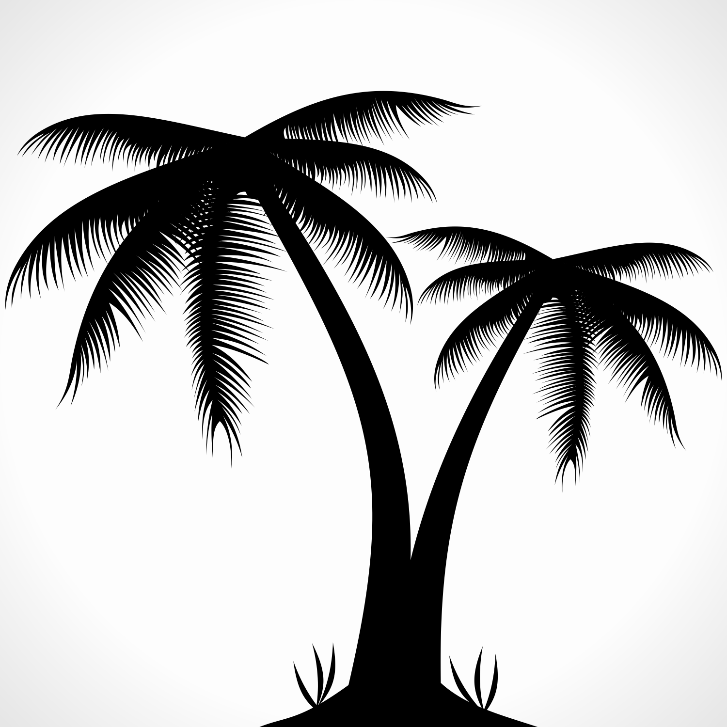 Palm tree silhouette. Free vector illustration