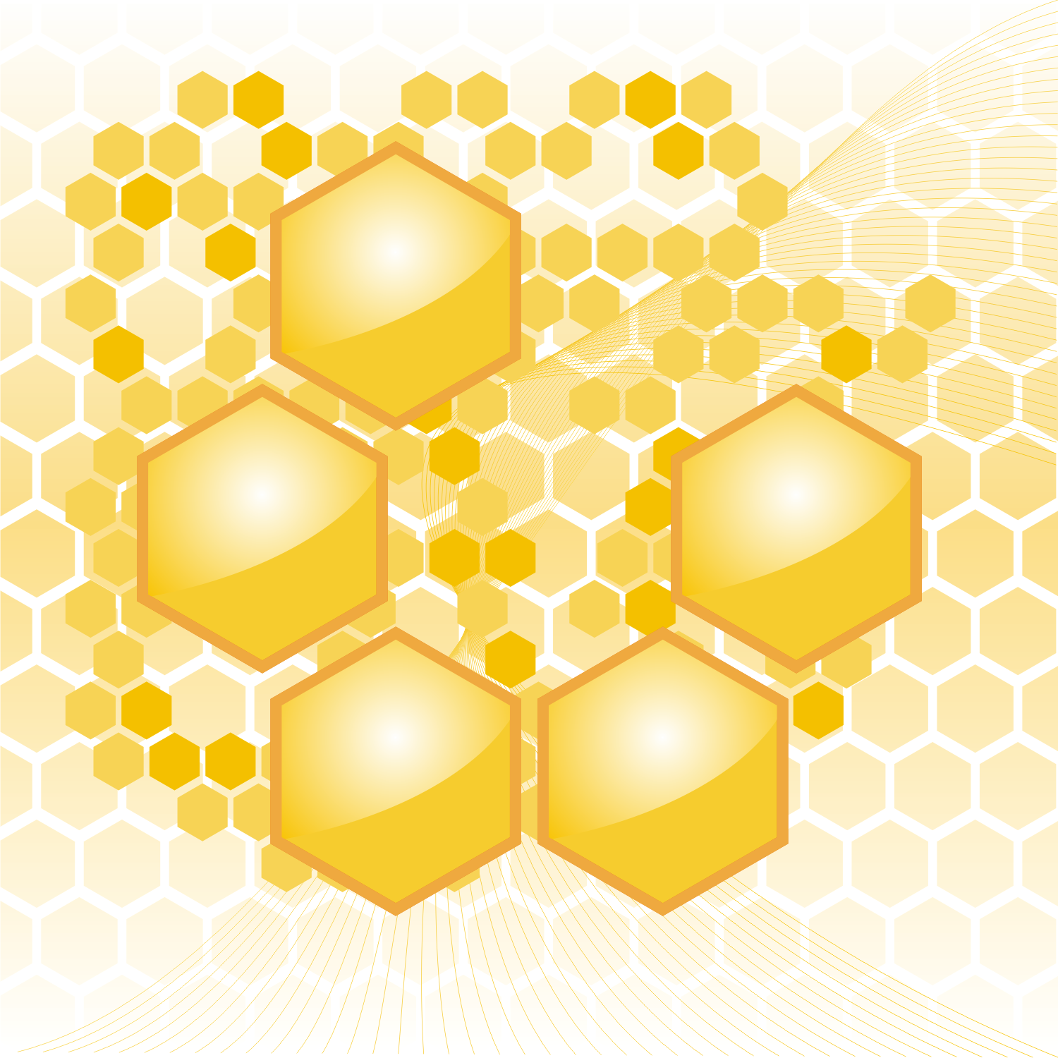Fine background with abstract yellow honeycombs. Free vector illustration