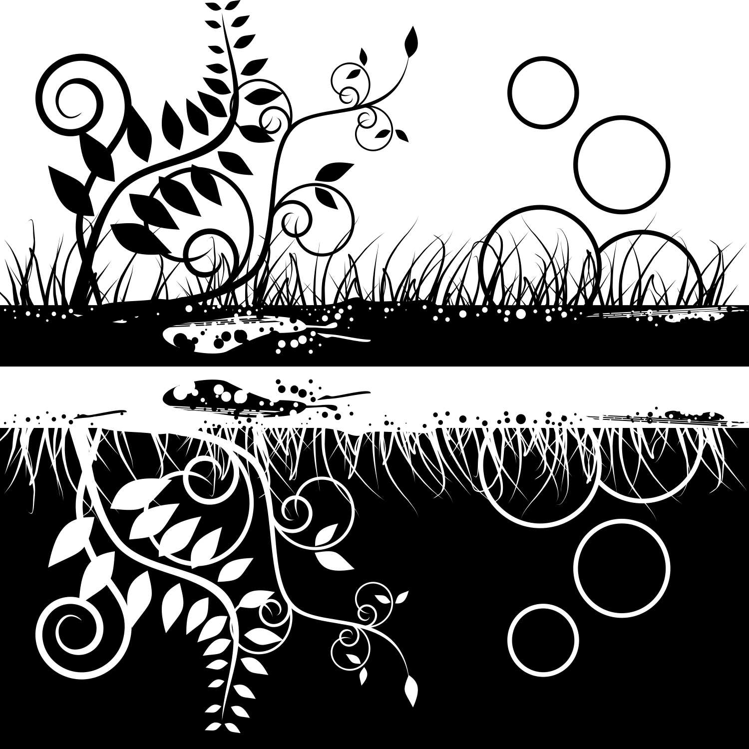 Vector For Free Use Black White Floral Design