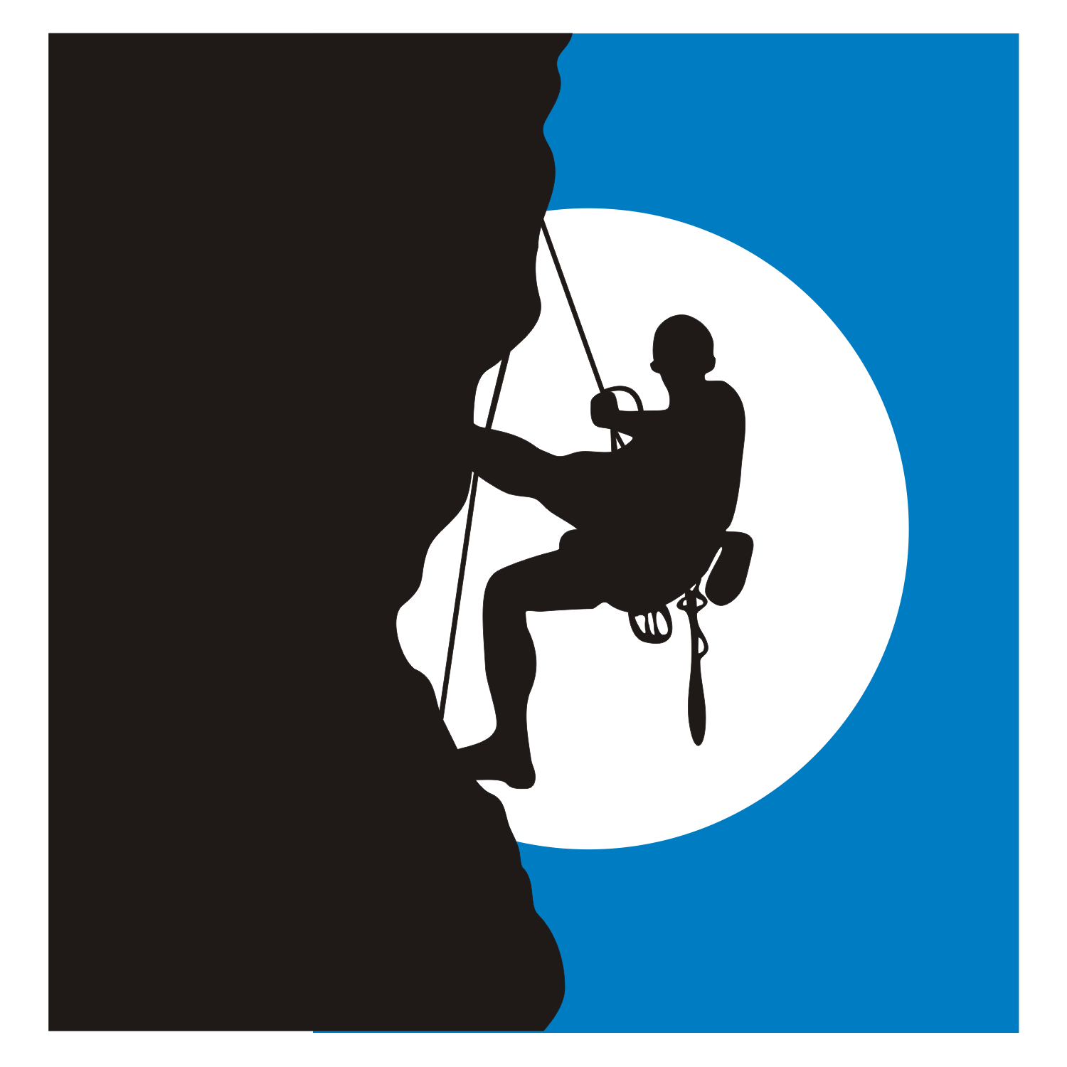A illustration of a climber on the rock in the light of the moon