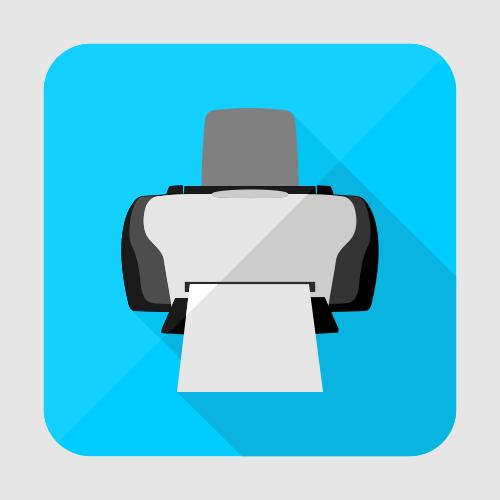 Flat printer icon or button