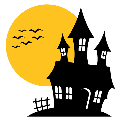 vector for free use haunted house silhouette. Black Bedroom Furniture Sets. Home Design Ideas