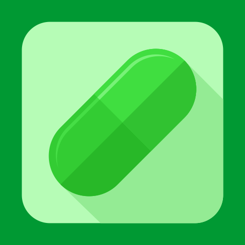 Medical pill icon or button