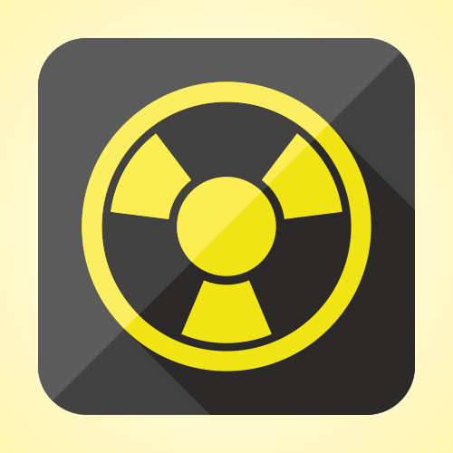 Flat radioactivity icon or button