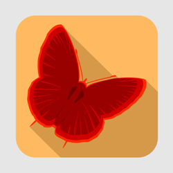 Flat butterfly icon or button