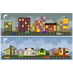 Landscape and cityscape vector