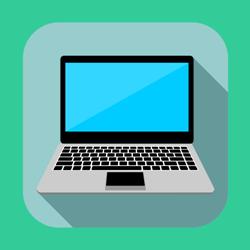 Flat laptop icon or button