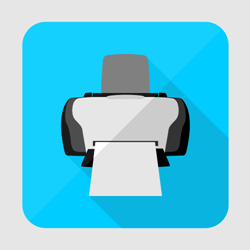 Flat printer icon or button