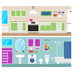 Kitchen and bathroom vector