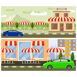 Roadside cafe vector