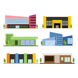 shops buildings vector
