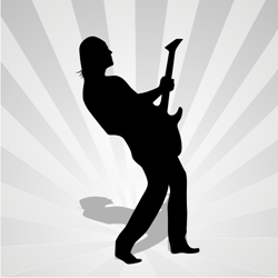 Man silhouette with guitar