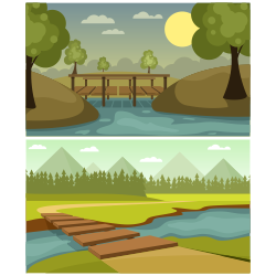 Wooden bridges vector