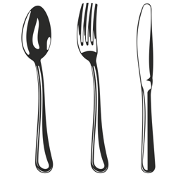 Spoon, fork and knife vector