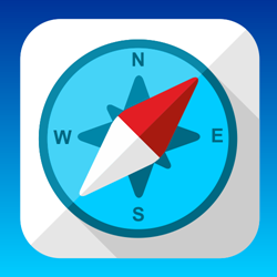Flat compass icon or button