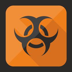 Flat biohazard button